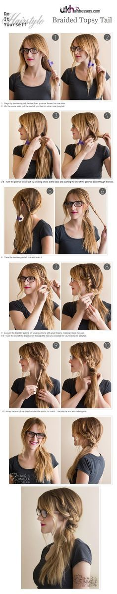"Braided Topsy Tail: This looks so easy. And I feel like I just had a huge ""Duh"" moment--of course you use a clip to separate hair and keep it out the way until you need it...Duh!"