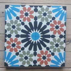 Schönes Marokkanisches Muster | Articima | Zementfliesen aus Marokko Office Supplies, Cement Tiles, Bespoke, Moroccan Design, Moroccan Pattern, Vivid Colors, Handmade, Morocco, Taylormade