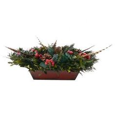 """Preserved myrtle, cedar, eucalyptus, and pinecones with pheasant feathers and faux berries in a wood container.  Product: ArrangementConstruction Material: Silicone and woodColor: GreenDimensions: 15"""" H x 18.5"""" W x 9"""" DCleaning and Care: Wipe gently with a dry cloth. Avoid sunlight and humidity."""