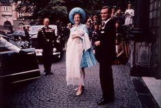 Regentparret med deres førstefødte søn, H.K.H. Kronprins Frederik, ved Kronprinsens dåb i Holmens Kirke den 24. juni 1968.
