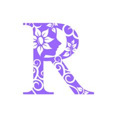 Flower Clipart   Purple Alphabet R With Black Background   Download
