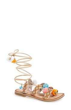 Free shipping and returns on Chinese Laundry 'Posh' Embellished Lace-Up Sandal (Women) at Nordstrom.com. Tiny goldtone-coin charms and lively beads ornament the svelte, faux-leather wraparound laces of a boho-chic toe-loop sandal further brightened by geo beading and colorful pompom accents.