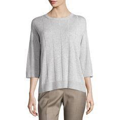 Lafayette 148 New York Grid-Stitch Sweater Top ($116) ❤ liked on Polyvore featuring tops, sweaters, light nick, round neck sweater, stitch top, relaxed fit tops, 3/4 sleeve tops and stitch sweater