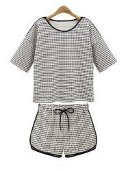 Casual Style Scoop Collar Checked Print Short T-Shirt and Drawstring Waist Shorts Women's Twinset