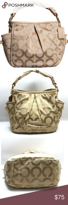 """COACH PARKER OPT ART SHOULDER BAG LIGHT KHAKI COACH PARKER OPT ART SHOULDER BAG LIGHT KHAKI #13427. Op Art print fabric with light-weight leather trimLarge inside pocketInside PDA and multifunction slip pocketsGusset pockets on either end with turnlock closureSoft leather rope handleHidden magnetic snap closure14"""" strap with 9"""" drop. 10 1/2 (H) x 10 3/4 (L) x 5 (W) Smoke Free. Preloved. Normal wear. See pictures for inspection. Coach Bags"""