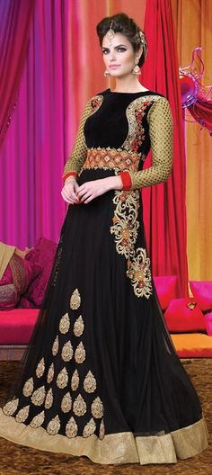 Embroidery, Sequence, Patch, Lace - find all this in one wedding dress. Order this #SalwarKameez at flat 15% off.   #Black #Bride #IndianWedding #partywear #onlineshopping