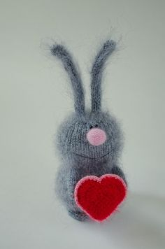 Grey bunny with red heart - Valentine's Plush Toy bunny Hand-knitted  Amigurumi…