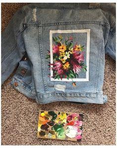 Painted Denim Jacket, Painted Jeans, Painted Clothes, Hand Painted, Denim Paint, Diy Jeans, Jeans Refashion, Denim Kunst, Jean Diy