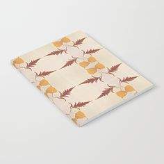 notebook with my red and yellow leaf pattern artwork at my society6 store. Available lined or unlined.