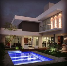 Casa Villa Design, Modern House Plans, Modern House Design, Modern Architecture House, Architecture Design, Fairytale House, House Essentials, Home Building Design, Luxury Homes Dream Houses