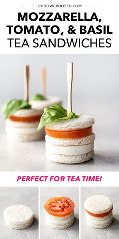 You know what's perfect for tea time? Some yummy bite-sized BLT sandwiches! Made of mozzarella cheese, cocktail tomatoes, basil, and white bread, these finger sandwiches are completely adorable and easy to make. Click to learn how to make a batch. Finger Sandwiches, Tea Sandwiches, Tea Recipes, Snack Recipes, Basil Tea, Tea Etiquette, Tea Places, Tea Time Snacks, Tasty Bites