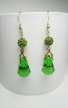 Fern Green Swarovski Crystal Earrings with by TurtleCoveDesigns, $52.00