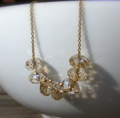 14K Gold Carrie Necklace Swarovski Crystals Necklace by Selicias