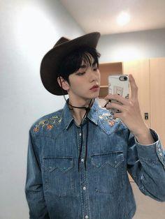 Denim Button Up, Button Up Shirts, Rapper, Kpop, Twitter Update, South Korean Boy Band, My Boys, Boy Bands, Boy Groups
