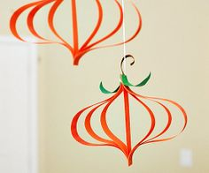 Fall Pumpkin Craft : Easy peasy. This is probably the easiest Fall craft you'll take on this season — and it's so darn cute! This hanging pumpkins garland adds a little touch of Fall to your home and can be hung just about anywhere in the house.  Source: All For the Boys