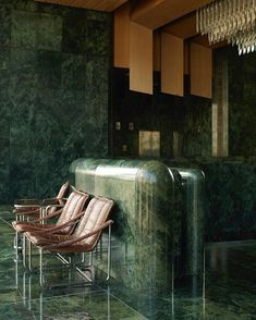 The National Theatre in Prague as redesigned by Karel Prager in Mid-century Interior, Interior Styling, Interior And Exterior, Interior Designing, Architecture Details, Interior Architecture, Das Hotel, Green Marble, Elle Decor
