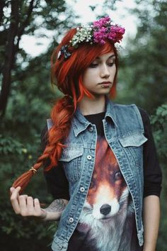 Gorgeous long red hair with a floral crown and wearing a tee with a red fox, so nice!