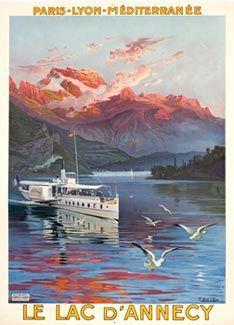 Le Lac d'Annecy vintage poster - Alpes - France