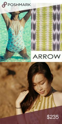 New acacia arrow teahupo'o one-piece arrows rare Brand new with tag, hygienic protection strip & still in original manufacturer's plastic. Teahupoo crochet onepiece swimsuit in arrows print by acacia swimwear. Small. Features lilikoi green crocheted macrame from chest to neck. Arrow is a lilikoi green & fig brown geometric tribal print. From the 2014 pa 'ana a ka la collection. No trade please. The price is firm. Price reflects high percentage posh commission fees acacia swimwear Swim One…