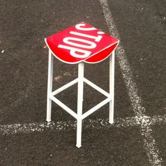 Tall stop sign bar stool