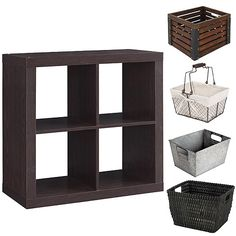 Better Homes and Gardens Square 4-Cube Organizer with Optional Storage Bins, Mutliple Options: Furniture : Walmart.com