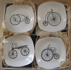 Four vintage bicycle dishes designed by Terence Conran for Midwinter Pottery