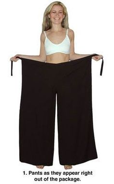 "Wrap pants or ""ocean pants""  [ I had 3 pairs of these in high school & loved them. You can also tie them at the ankles or leave them down. Tied at the ankles they look like harem pants but it works if your going to ride a bike or do something where you don't want all that fabric at the bottom. ]"