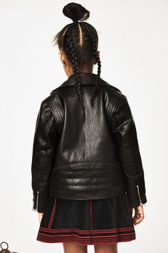 Biker jacket and embroidered velvet skirt from the first H&M Studio kids collection for autumn winter 16. Available from September 8, 2016. Photo from H&M. More in MILAN Magazine http://www.milan-magazine.de/hm-studio-kollektion-kinder/  #HMStudioAW16 #HMStudio #HM #HMKids #aw16 #childrenswear #kidsfashion #kindermode #bikerjacket #leather #skirt #velvet #embroidery #braids #fashionphotography