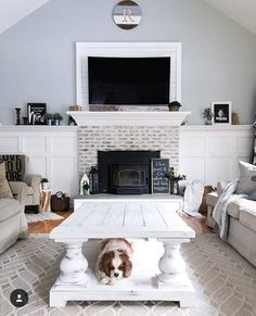 CHUNKY Balustrade Coffee Table Legs, Traditional Style, Unfinished Wood, Wide- Set of 4 Balusters - rustic living room furniture Brick Fireplace Makeover, Home Fireplace, Living Room With Fireplace, Fireplace Design, Home Living Room, Living Room Designs, Living Room Furniture, Fireplace Ideas, Black Fireplace