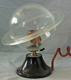 Vintage Art Deco Clear Glass SATURN Electric Light Lamp original cloth wrap wire #ArtDecoSaurnLamp #unknown
