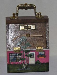Vintage wood painted house handbag purse signed Mi House