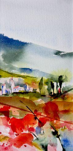 Triptyque Provençal 03 (Peinture),  20x10 cm par Véronique Piaser-Moyen aquarelle originale sur papier 300 G