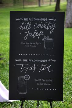 Signature Drinks | See the wedding on SMP: http://www.StyleMePretty.com/texas-weddings/austin/2014/01/23/vintage-romantic-wedding-at-salt-lick-bbq-in-austin-tx/ Braden Harris Photography