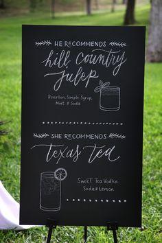 Signature Drinks | See the wedding on SMP: http://www.StyleMePretty.com/texas-weddings/austin/2014/01/23/vintage-romantic-wedding-at-salt-lick-bbq-in-austin-tx/ Braden Harris Photography