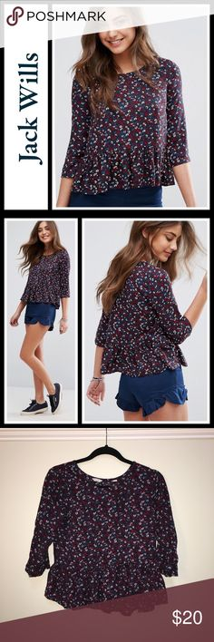 Jack Wills Falconwood Peplum Top Perfect condition size 10 and fits TTS no flaws floral peplum top - sold out on ASOS by jack wills. Jack Wills Tops