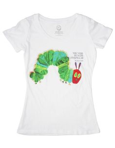 """""""The Very Hungry Caterpillar"""" shirt. This is a really cool site with t-shirts with the original covers of favorite books (including discontinued ones)"""