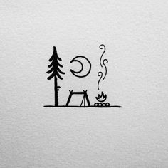 """""""Camping under a big bright moon. Mini Drawings, Pencil Art Drawings, Doodle Drawings, Art Drawings Sketches, Easy Drawings, Little Doodles, Cute Doodles, Inspiration Art, Art Inspo"""