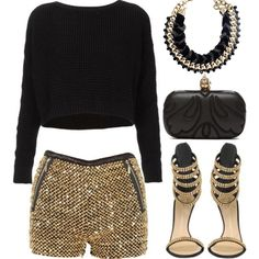 Our #Rheajewellery black and gold necklace is perfect for a glitzy night out! Team it with these cute sequinned shorts and sky-high heels and you'll be sure to make heads turn