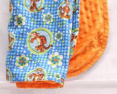 TIGGER Blanket Orange Minky Baby Blanket Toddler by JoyfulBundles Toddler Blanket, Minky Baby Blanket, Blankets For Sale, Comfy Blankets, Handcrafted Gifts, Handmade, Cuddle, Joyful, Tigger