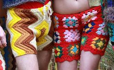 The latest fashion trend for men (and women!) includes these crochet shorts made from recycled vintage blankets.