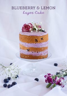 Blueberry and Lemon Layer Cake with Blueberry Cream Cheese Frosting - Love Swah