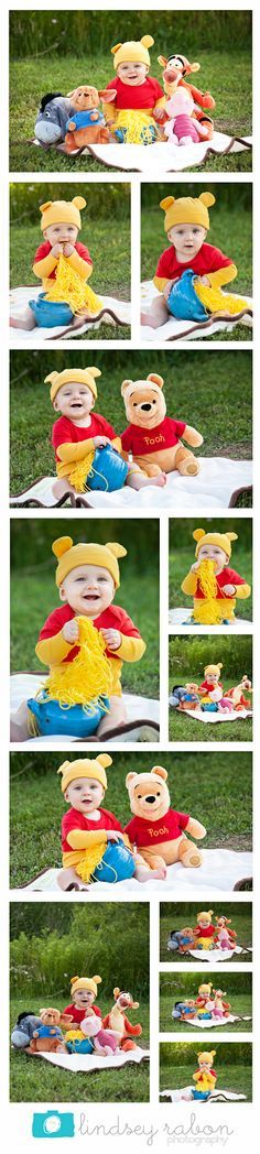 Winnie the Pooh photo shoot   Lindsey Rabon Photography. Baby photos, 9 month, pooh, boy, outdoor portraits, stylizized