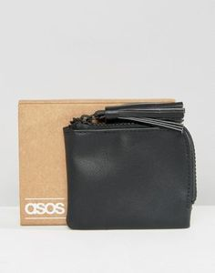 ASOS Zip Around Wallet In Black With Tassel