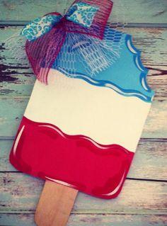 Popsicle, patriotic, of July, summer, personalized door hanger. Wooden Door Signs, Wooden Doors, Wood Signs, Burlap Crafts, Diy Crafts, Wood Crafts, Painting Burlap, Burlap Door Hangers, Wooden Cutouts
