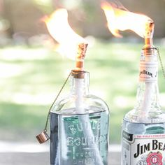 Turn empty glass bottles into mini tiki torches to create beautiful lighting for any event!