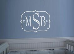 Monogram Simple Initials vinyl wall art decal sticker. $22.00, via Etsy.