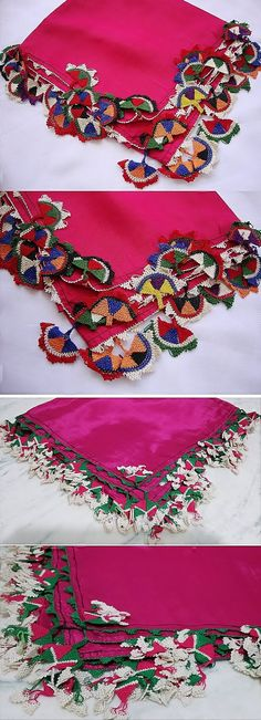 Two traditional silk 'oyalı yazma' (headscarves edged with Turkish lace) from Kozak Yaylası, near Bergama.  Ca. mid-20th century.  (Source: Tekin Uludoğan, Balıkesir).