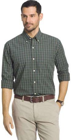 Arrow Mens Button Down Twill Shirt Sizes Big Tall Tartan Plaid Khaki Green