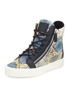 Men\'s Embossed Snake-Print High-Top Sneaker, Blue Multi by Giuseppe Zanotti at Neiman Marcus.