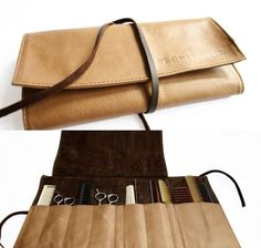 Hairdressers makeup leather tool roll pouch bag by fronishair